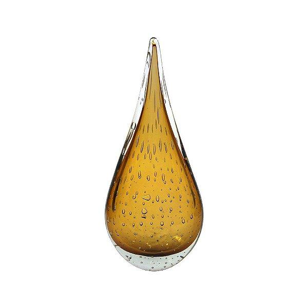 Gota de Decoração em Murano - Ambar - Leaf - Tam G