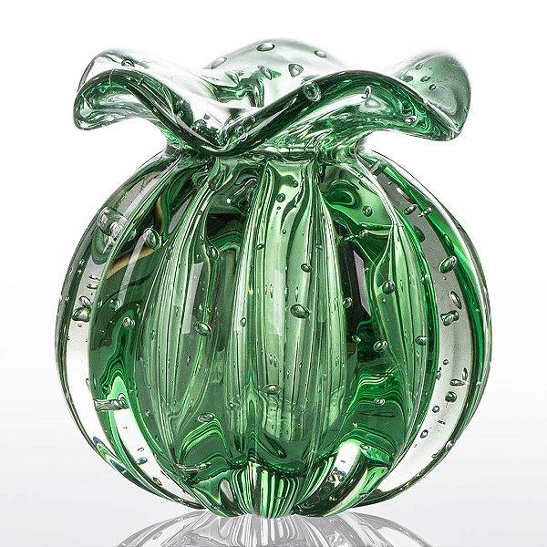 Vaso de Decoração em Murano - Trouxinha Love - Verde Esmeralda - Tam M