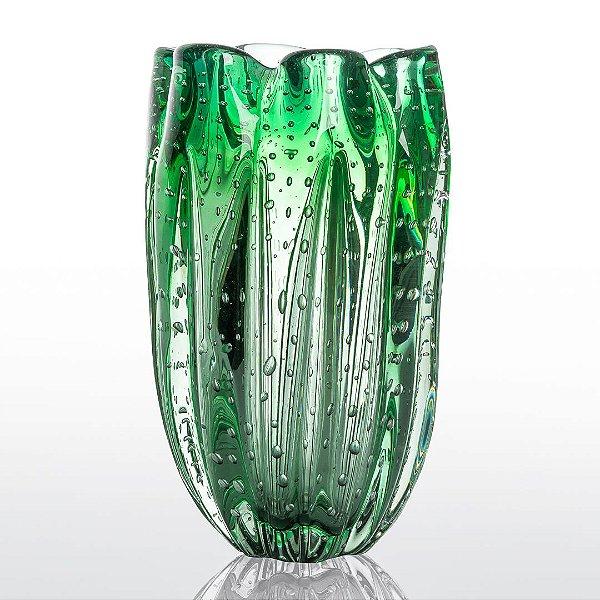 Vaso de Decoração em Murano - Verde Esmeralda - Jelly - Tam G