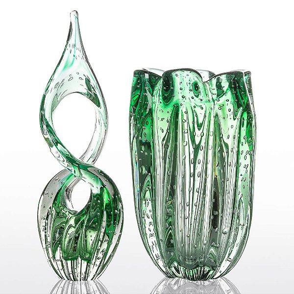 Kit Murano Adorno  Eight e Vaso Jelly - Verde Esmeralda