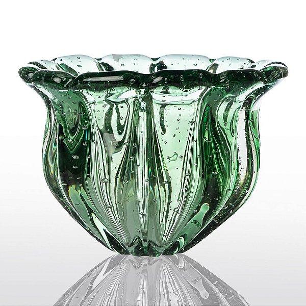 Vaso de Decoração em Murano - Verde Esmeralda - Camponesa