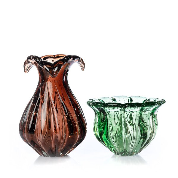 Kit Murano Vaso Hip Marrom e Cachepot Camponesa Verde Esmeralda