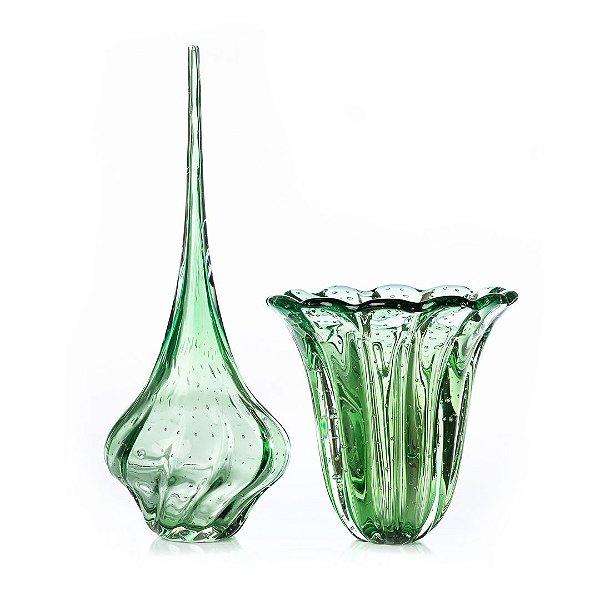 Kit Murano Vaso Elegance  e Gota Ball Verde Esmeralda