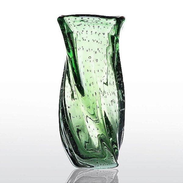 Vaso de Decoração em Murano - Verde Esmeralda - Twist - Tam P