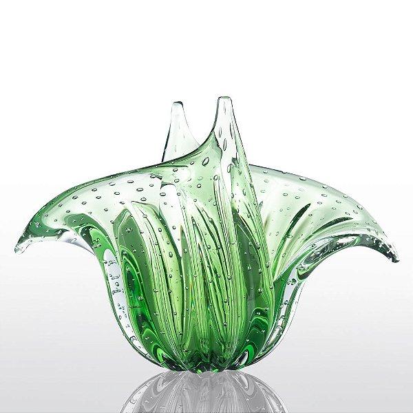 Vaso de Decoração em Murano - Verde Esmeralda - G - Wings
