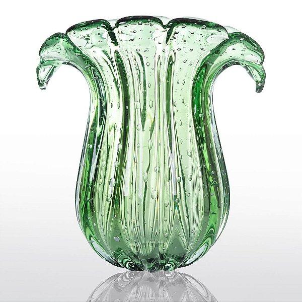 Vaso de Decoração em Murano - Verde Esmeralda - Cloud - Tam G