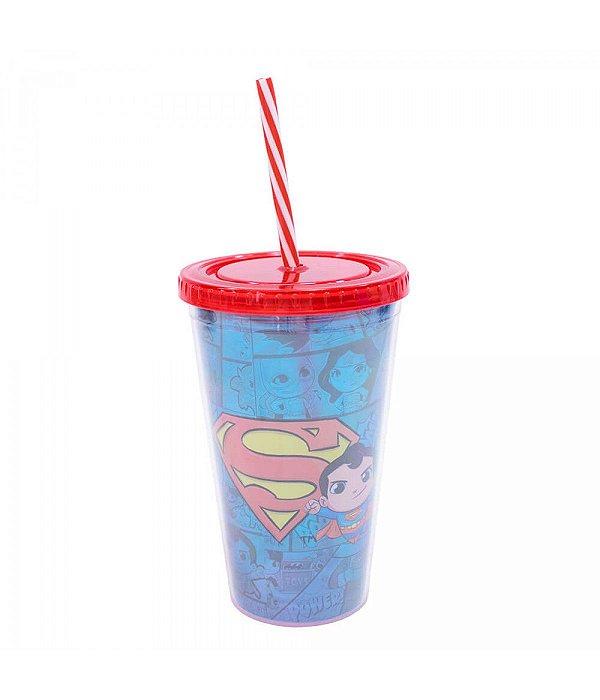 Liga Da Justiça Copo Com Canudo Superman 450ml