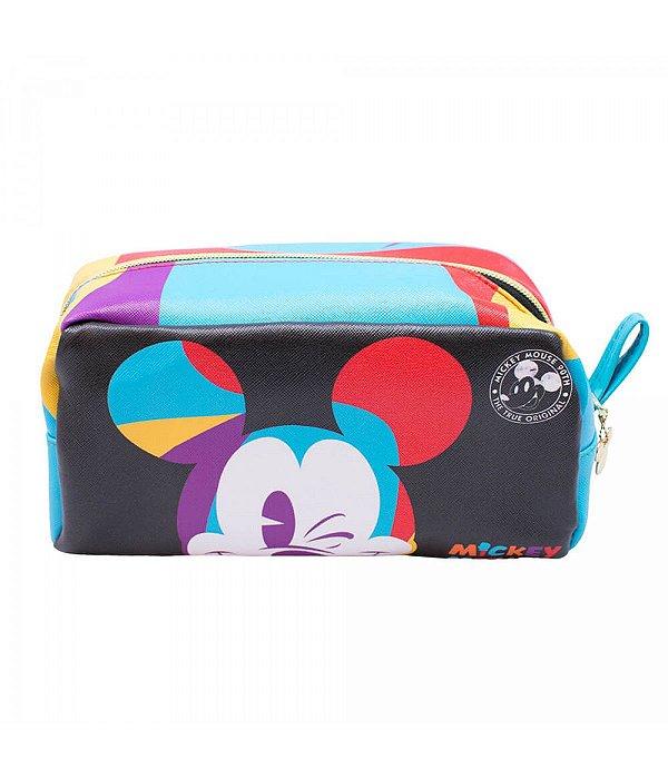 Necessaire Retangular Mickey Piscando 12x11x24cm 90 Anos - Disney