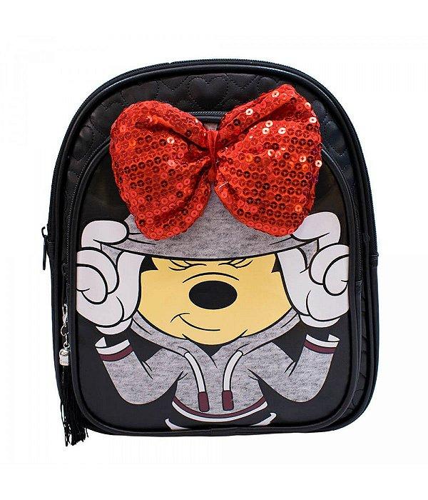 Mochila Preta Laço Minnie - Disney