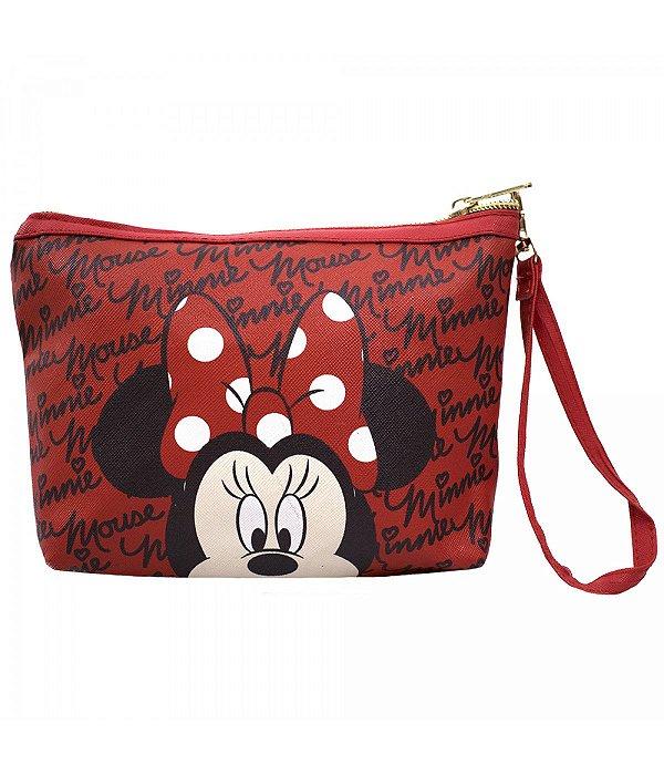 Necessaire Vermelho Rosto Minnie Mouse Disney Mundo Dos Ratinhos
