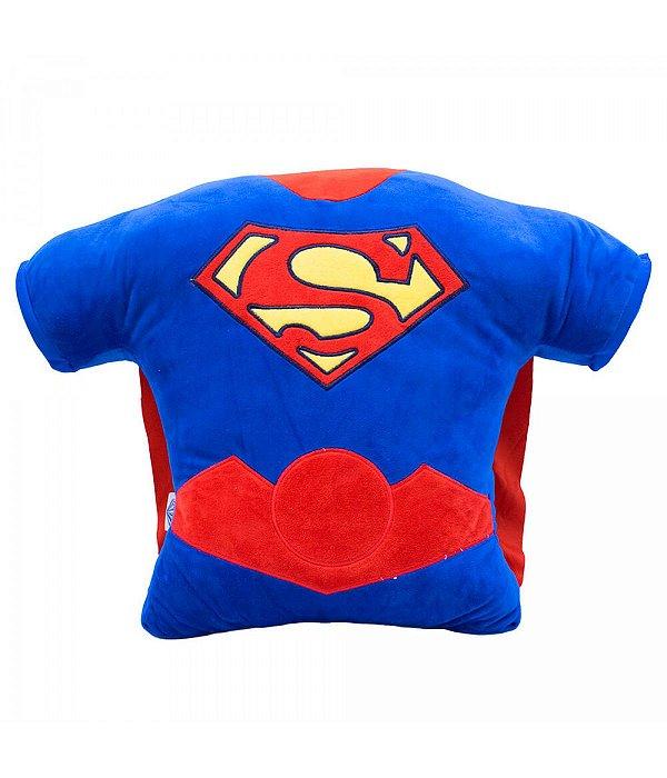 Almofada Fibra Formato Superman 40 x 14x 56cm  Liga Da Justiça