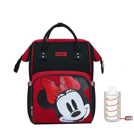 Mochila maternidade Mickey e Minnie térmica carinhas Disney