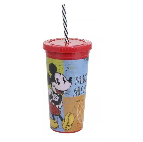 Copo Canudo Malibu Mickey Mouse 600 Ml Disney