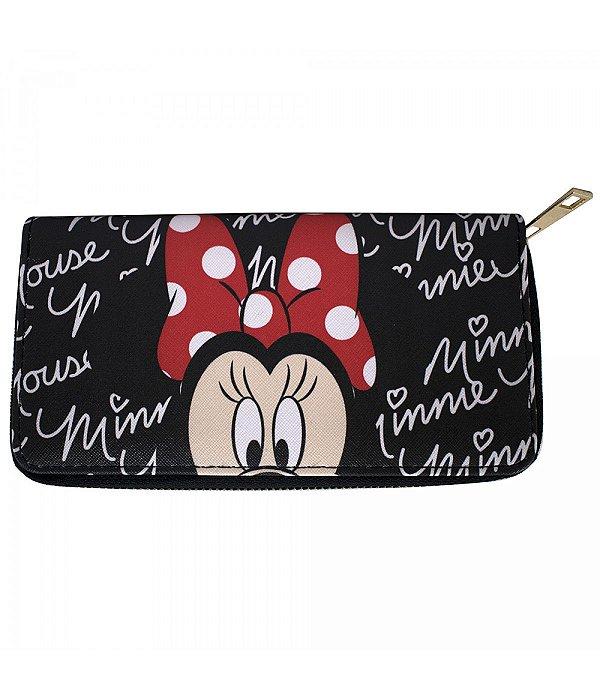Carteira Minnie Mouse preta couro ecológico