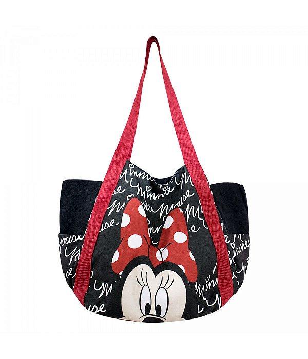 Bolsa Preta Assinatura Rosto Minnie Mouse Disney