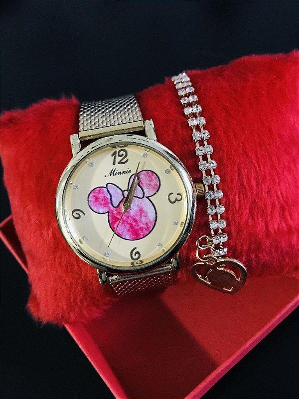 Kit relógio Minnie Mouse com pulseira de silicone + pulseira de pedrinhas biju