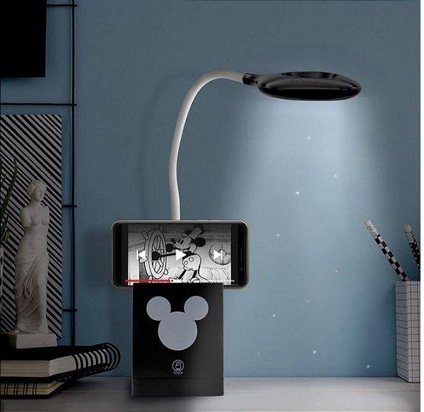Luminária flexível led 3 funções mickey mouse
