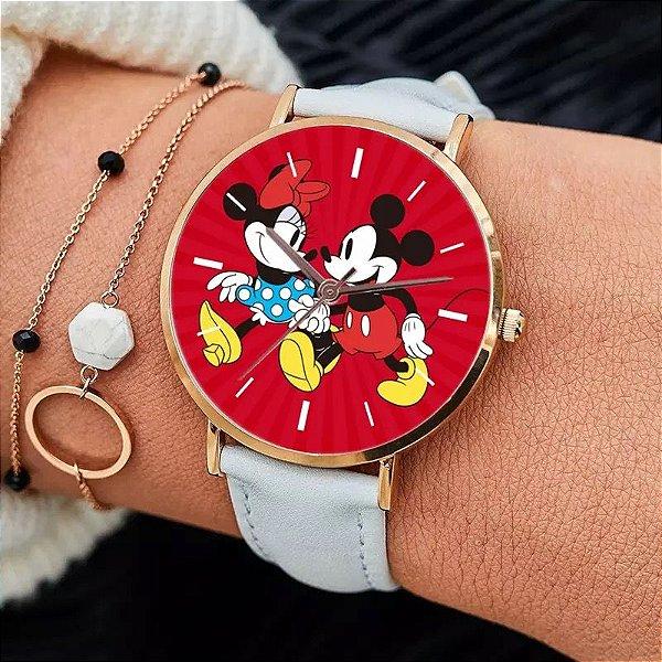 Relógio Mickey Mouse com pulseira branca e caixa vermelha