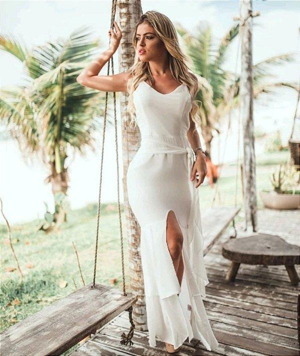 Vestido Longo Amarração Com Fenda