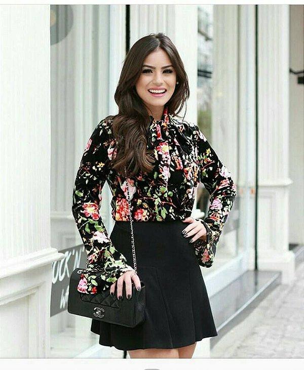 Blusa Floral Veludo