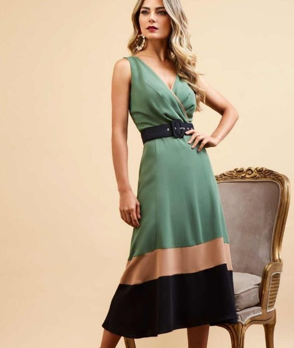 Vestido Midi Bicolor