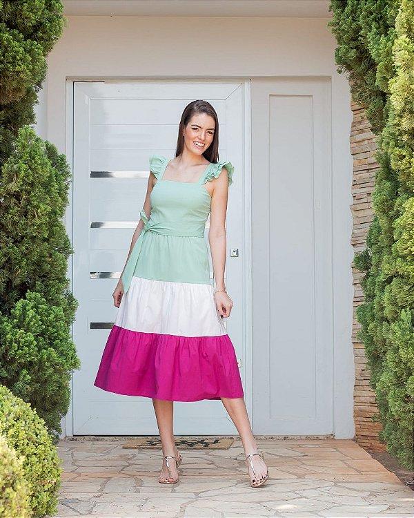 Vestido Midi Tricoline Color Blocking