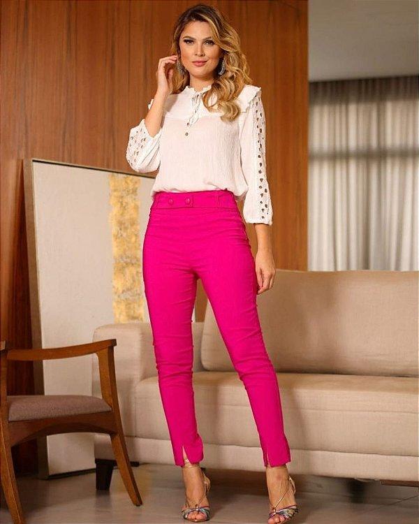 Calça Alfaiataria Dois Botões Pink