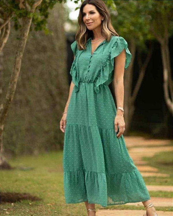 Vestido Midi Poá Alto Relevo Verde