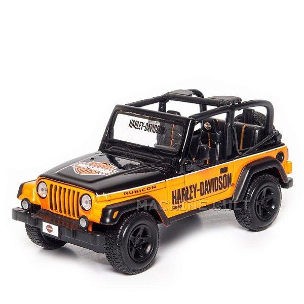 Miniatura Jeep Wrangler Rubicon Harley-Davidson Laranja - 1:27