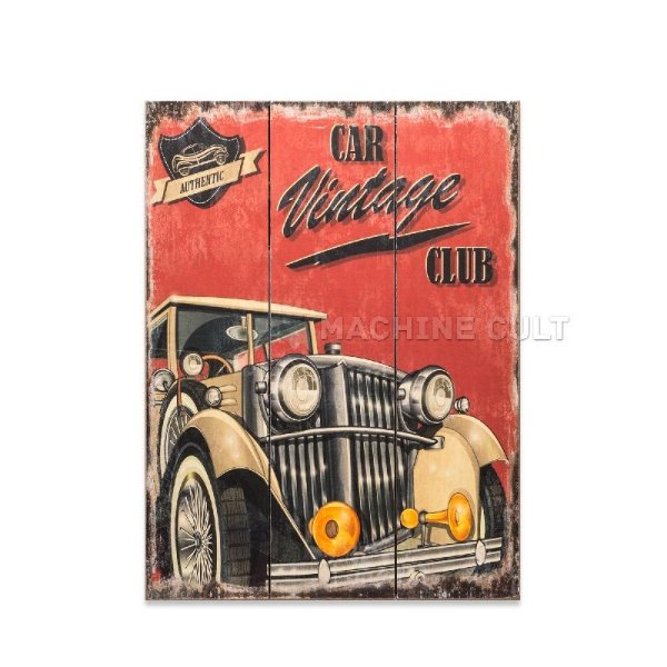 Placa Madeira Car Vintage