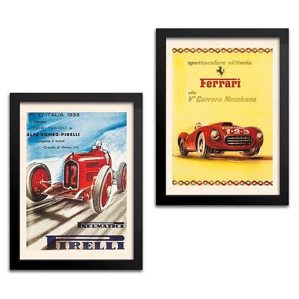 Kit 2 Quadros Carro - Pirelli e Ferrari