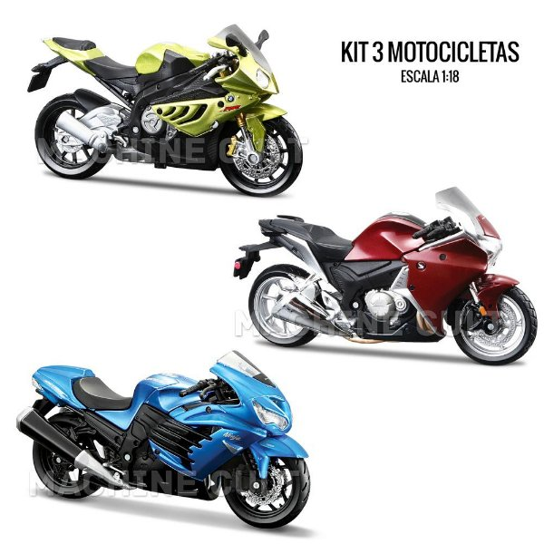 Kit 3 Miniaturas Motos Esportivas - 1:18 - Box 13