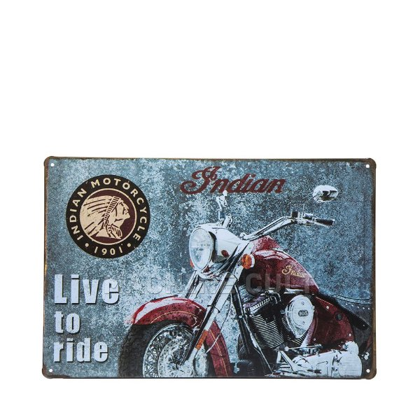 Placa Moto Indian Live to Ride