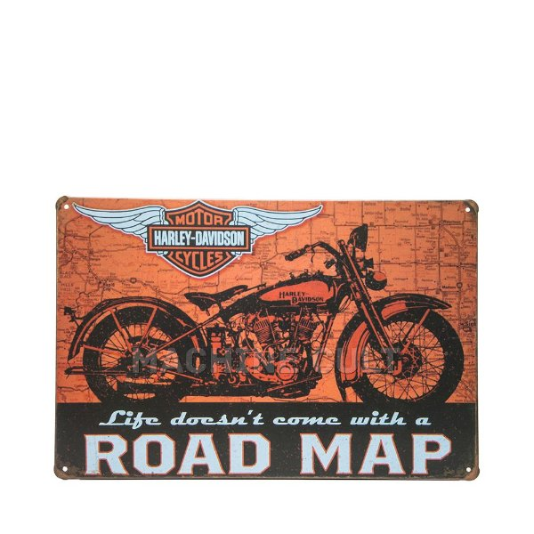 Placa Harley-Davidson Road Map