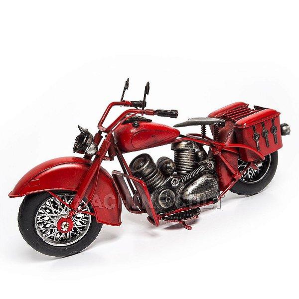 Moto Decorativa em Metal Vermelha