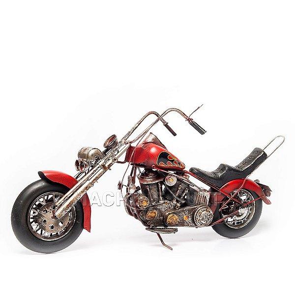 Miniatura Moto Chopper Vermelha