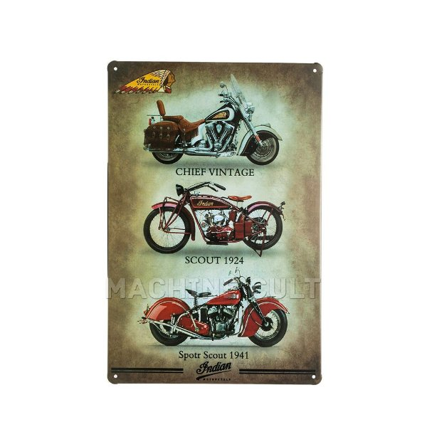 Placa Decorativa Indian Motorcycle Models