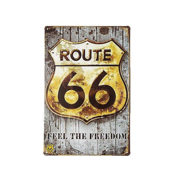 Placa Decorativa Route 66 - Feel The Freedom
