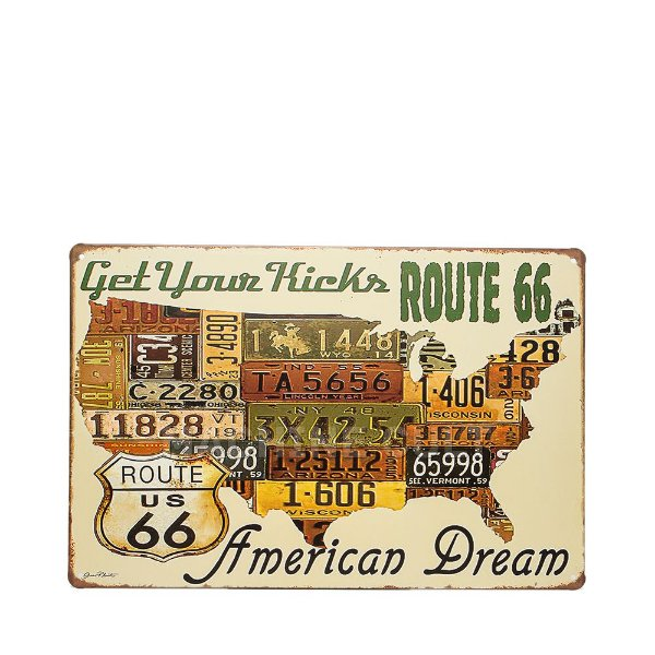 Placa Decorativa Route 66 - Get Your Kicks