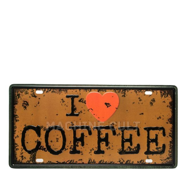 Placa I love Coffee - Alto Relevo