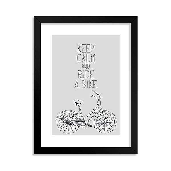 Quadrinho Decorativo Keep Calm and Ride a Bike