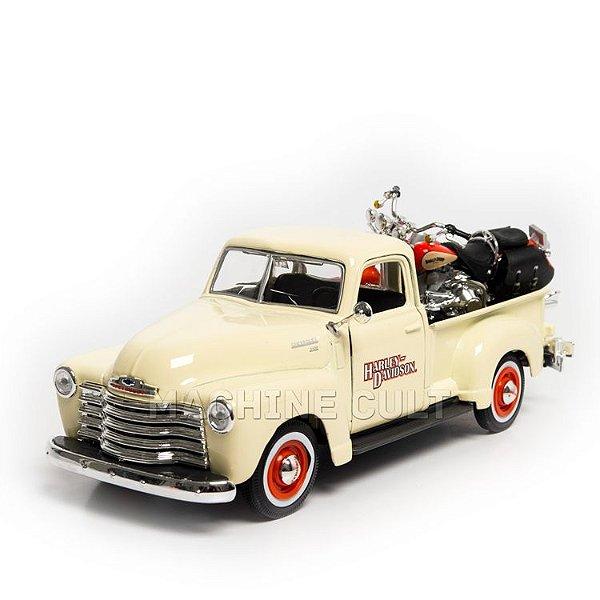 Miniatura 1950 Chevrolet 3100 + Harley-Davidson Heritage Springer - Maisto 1:24