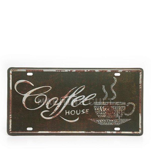 Placa Decorativa em Metal - Café - alto relevo