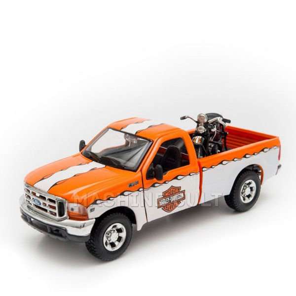 Miniatura Ford F-350 Super Duty Pick Up Branca + Harley-Davidson EL Knucklehead 1936 - Maisto - 1:24