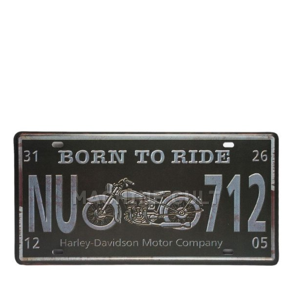 Placa Decorativa Born to Ride - alto relevo