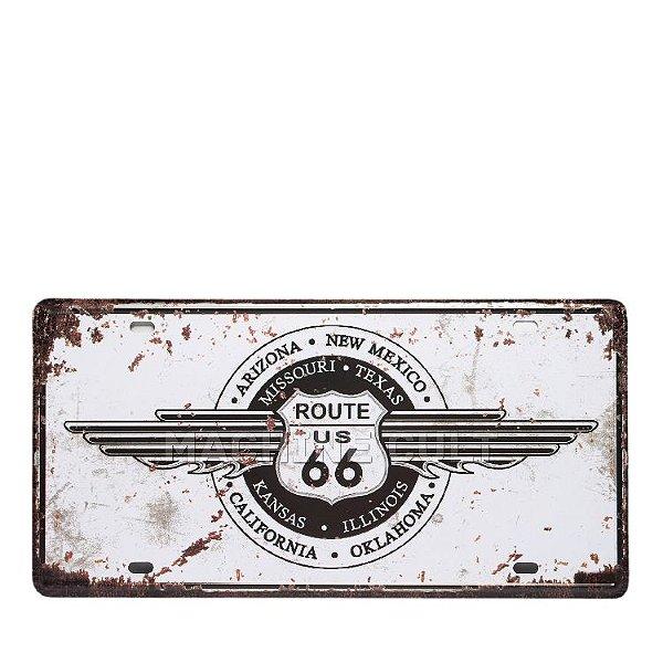 Placa Decorativa Route 66 Trip - alto relevo