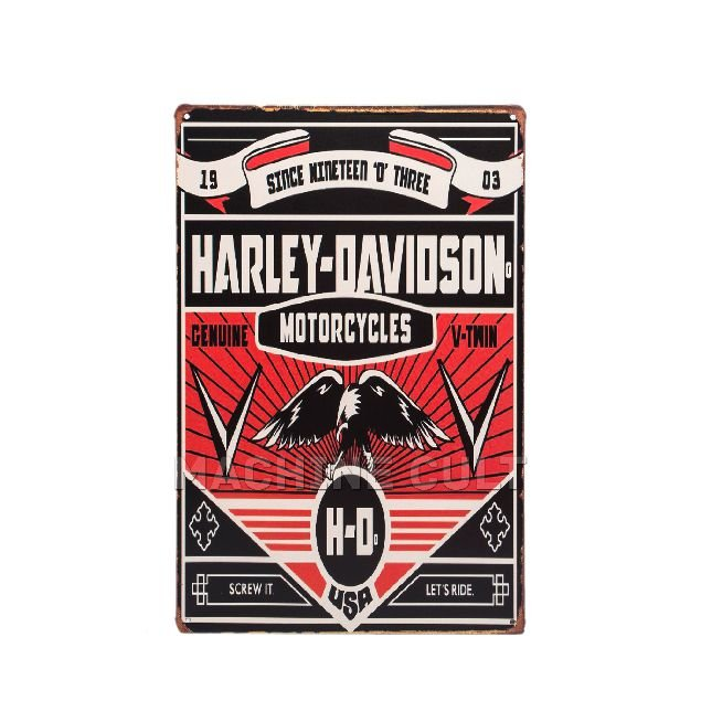 Placa Decorativa em Metal - Harley-Davidson Garage