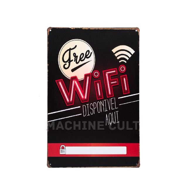 Placa Decorativa Free Wifi
