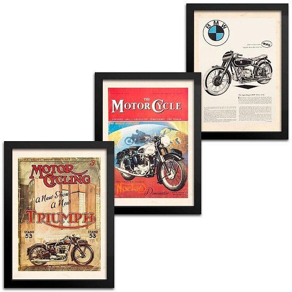 Kit 3 Quadros Moto Vintage - BMW - Norton - Triumph - 33x43cm