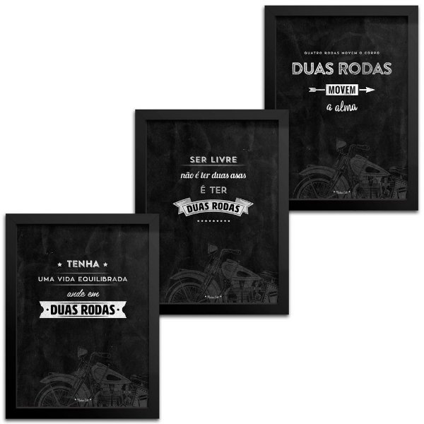 Kit Quadros Decorativos Frase Moto - 33x43cm